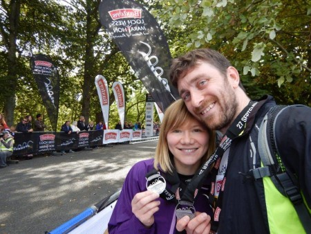 Meg and John at the end of the River Ness 10k