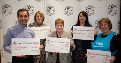 Receiving cheques from the 2019 Highland Cross are (from left) James Dunbar of New Start Highland, Miriam Veals of Cantraybridge College, Annabel Mowat of Birchwood Highland, Jenni Campbell of SNAP and Dr Helen Charley of Puffin Hydrotherapy Pool.
